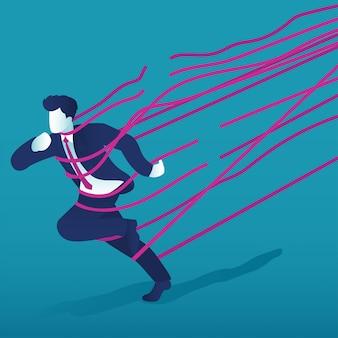 Un uomo d'affari corse verso il successo attraverso barriere di corda.
