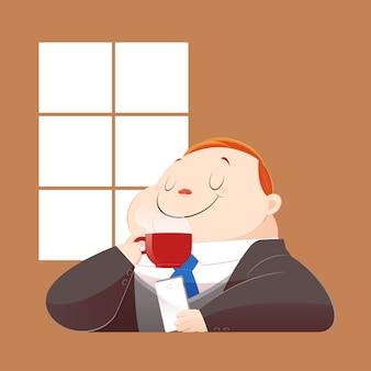 Un uomo d'affari grasso felice in abito nero sta bevendo caffè caldo e navigare in internet sul suo cellulare. concetto con cartone animato e vettoriale.