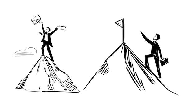 Un uomo d'affari sta camminando su per la collina. simbolo di successo.