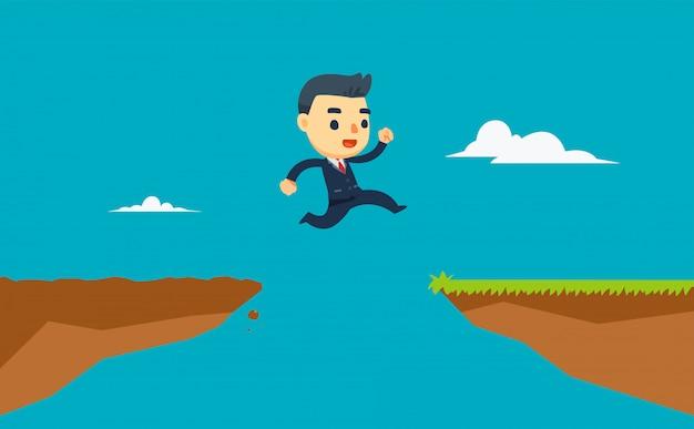 Un uomo d'affari sta saltando tra due scogliere. illustrazione vettoriale