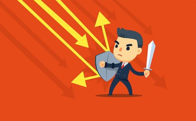 Un uomo d'affari tiene in mano uno scudo e una spada