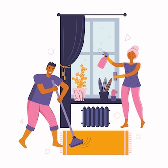 Un uomo e una donna trascorrono del tempo insieme a casa. la giovane coppia sta pulendo la stanza, disinfetta, lava la finestra e spazza il pavimento. trascorrere del tempo a casa. famiglia felice.