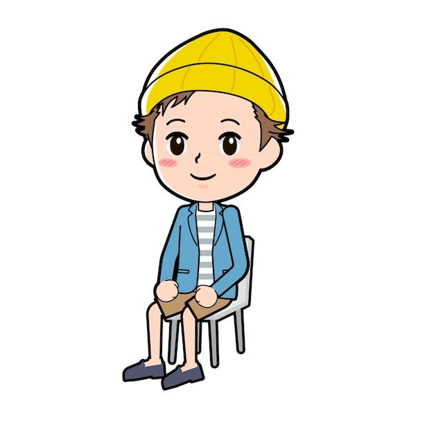 Un uomo in giacca e pantaloni corti con un gesto di seduta