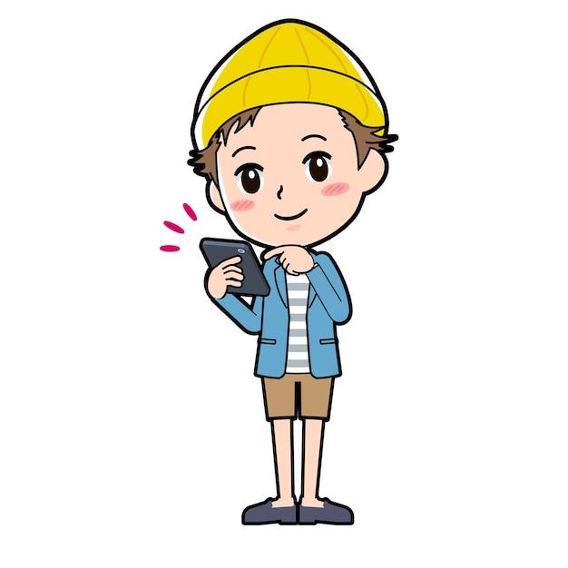 Un uomo in giacca e pantaloni corti con un gesto di tocco di smartphone