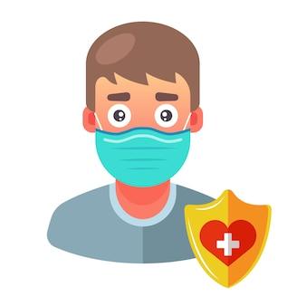 Un uomo in maschera medica si protegge dalle malattie. illustrazione del personaggio.