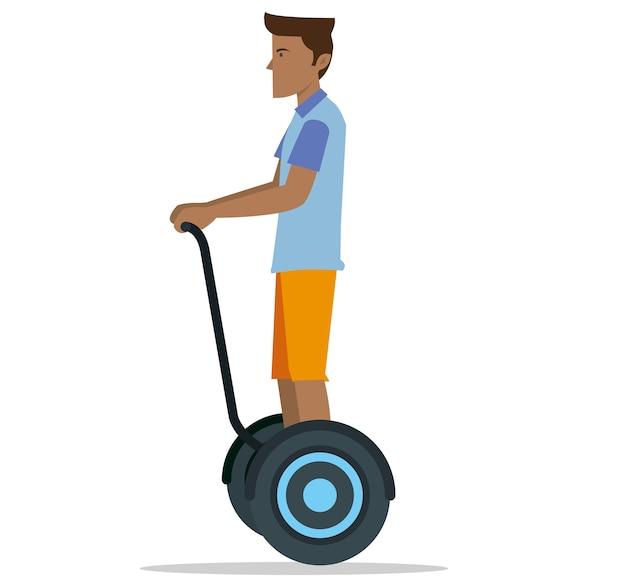 Un uomo in sella a uno scooter bilanciato
