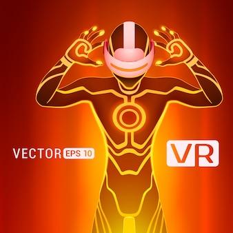 Un uomo in un casco di realtà virtuale. la figura futuristica dei maschi in una cuffia avricolare di vr contro la priorità bassa astratta rossa