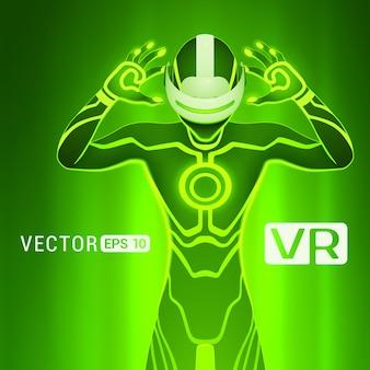 Un uomo in un casco di realtà virtuale