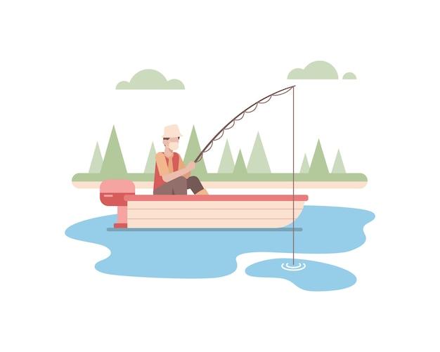 Un uomo indossa una maschera e pesca da solo nel lago usando l'illustrazione della piccola barca