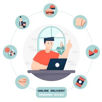 Un uomo ordina cibo con un computer portatile.