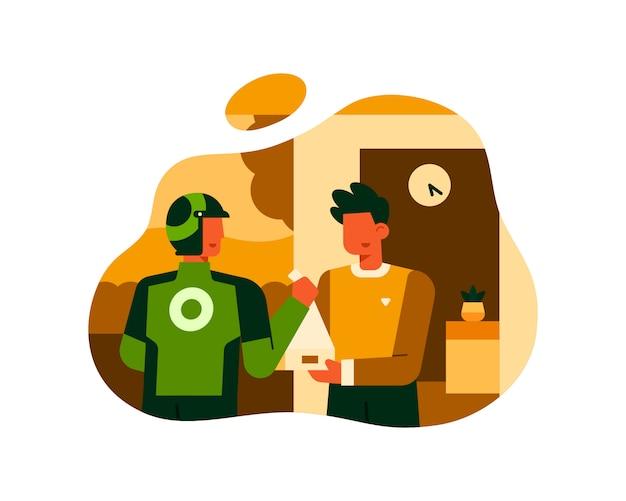 Un uomo ordina cibo utilizzando un servizio di consegna cibo