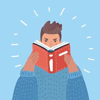 Un uomo pantaloni a vita bassa con la barba che legge un'illustrazione del libro su priorità bassa bianca. layout verticale.