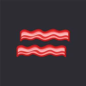 Un vettore di due fette del bacon su fondo nero