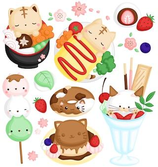 Un vettore di simpatico gatto in cibo e dessert tradizionali giapponesi