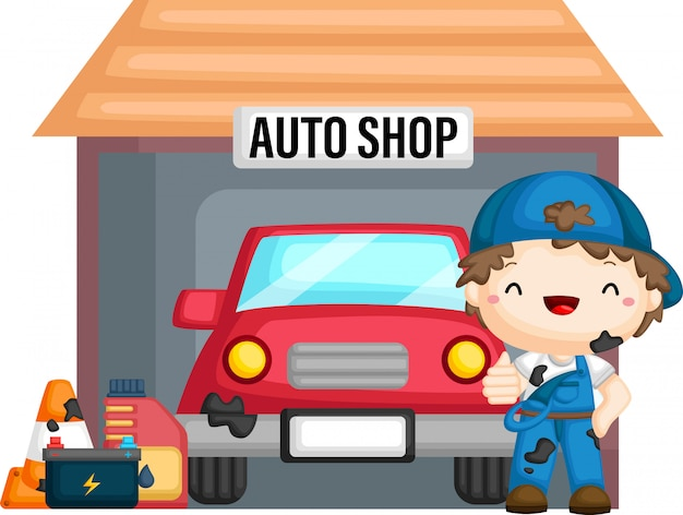 Un vettore di un'auto nel negozio di auto con un meccanico