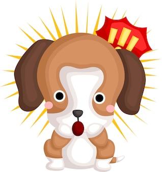 Un vettore di un beagle sorpreso carino