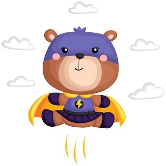 Un vettore di un orso in un costume da supereroe