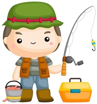 Un vettore di un pescatore con la sua canna da pesca
