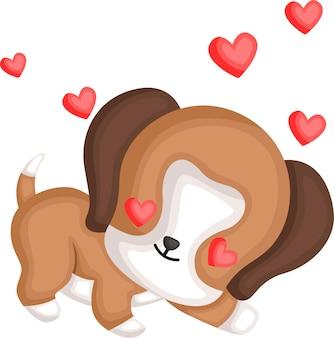 Un vettore di un simpatico beagle innamorato