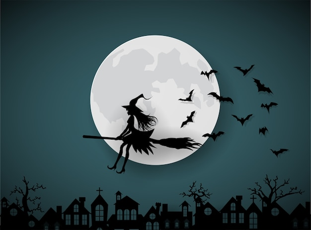 Un wicth cavalcando le scope nel cielo notturno