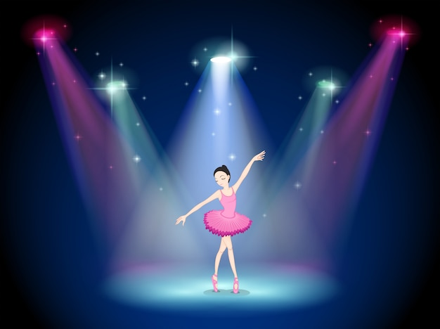 Una ballerina aggraziata al centro del palco
