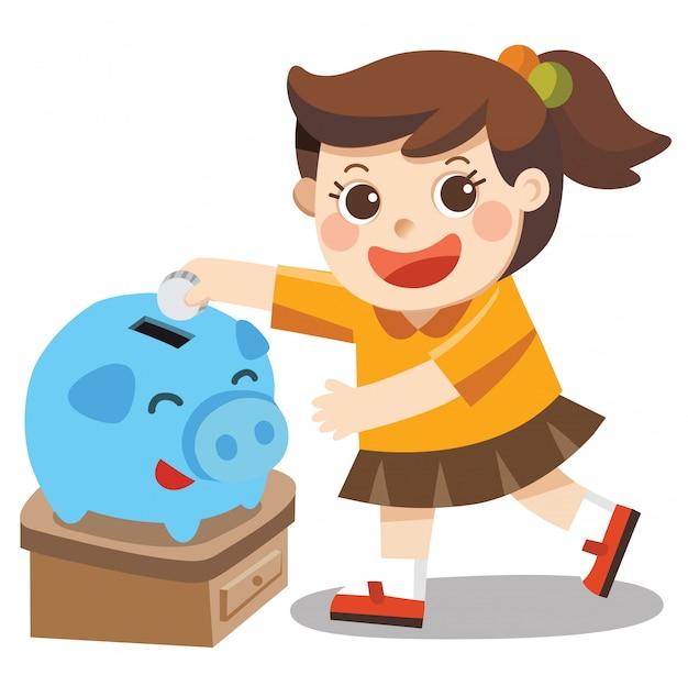 Una bambina felice di risparmiare denaro nel salvadanaio blu.