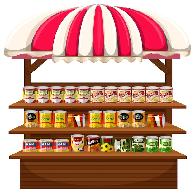 Una bancarella di cibo in scatola