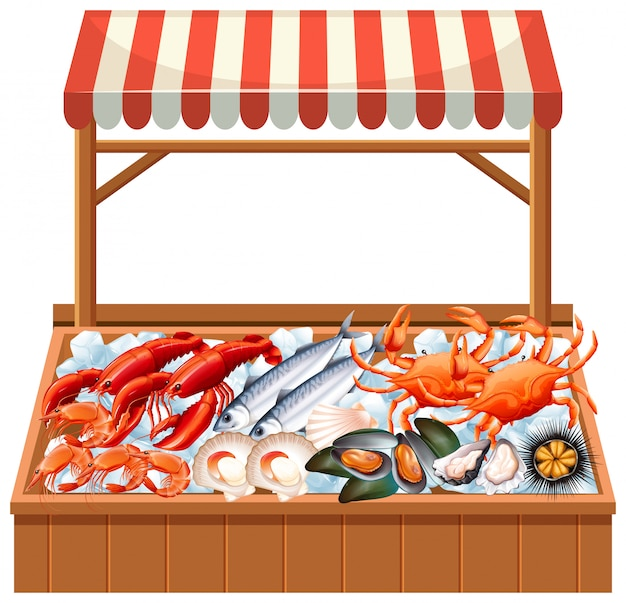 Una bancarella di pesce su sfondo bianco