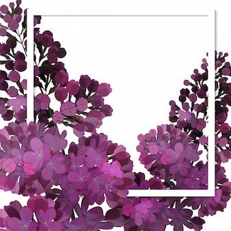 Una bella cornice che passa attraverso i fiori di lillà.