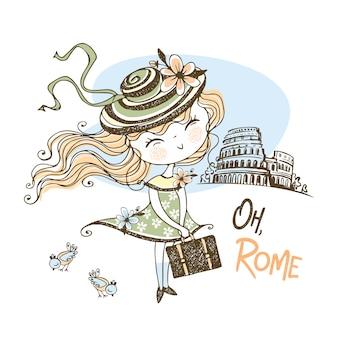 Una bella ragazza con un cappello sta viaggiando a roma. viaggio.