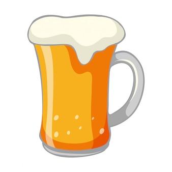 Una birra fredda su sfondo bianco