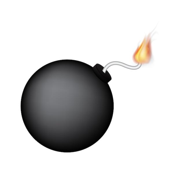 Una bomba nera con il fuoco
