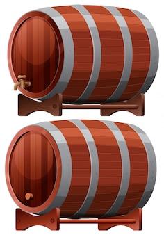Una botte di vino su sfondo bianco