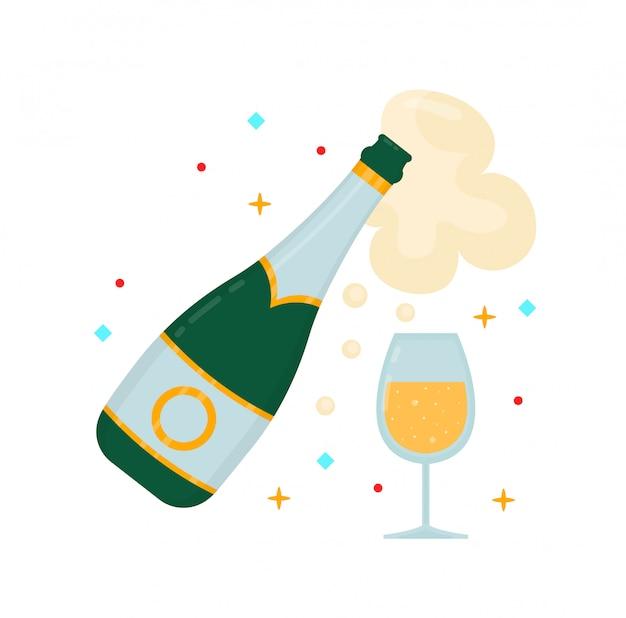 Una bottiglia di champagne e un bicchiere. illustrazione di personaggio dei cartoni animati di stile piano moderno di vettore