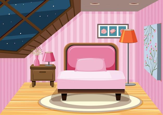 Una camera da letto mansarda rosa