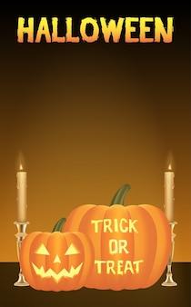 Una carta vettoriale di zucche di halloween