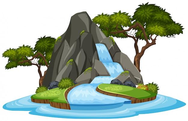 Una cascata isolata su sfondo bianco
