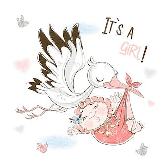 Una cicogna trasporta una bambina. biglietto d'auguri per mia figlia.