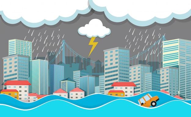 Una città urbana inondata