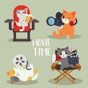 Una collezione di carattere di simpatico gatto con il concetto di film. gatto sta facendo il film e sono così felici. avere gatto come regista e cameraman. un simpatico gatto in stile vettoriale piatta