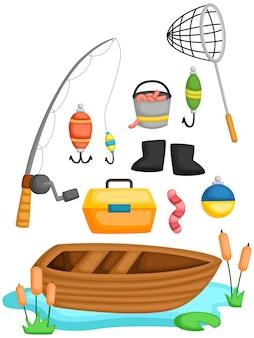 Una collezione vettoriale di attrezzi da pesca e oggetti