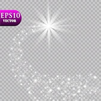 Una cometa luminosa con. stella cadente. effetto luce bagliore. illustrazione