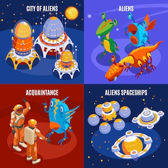 Una composizione isometrica in quattro alieni con l'illustrazione di descrizioni di conoscenza e delle astronavi della città degli stranieri