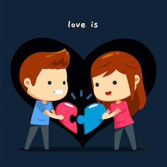 Una coppia abbina il loro puzzle del cuore