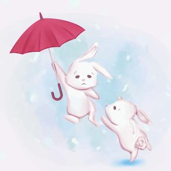 Una coppia coniglio vola carino
