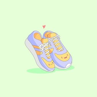 Una coppia di scarpa carina ama l'illustrazione del fumetto