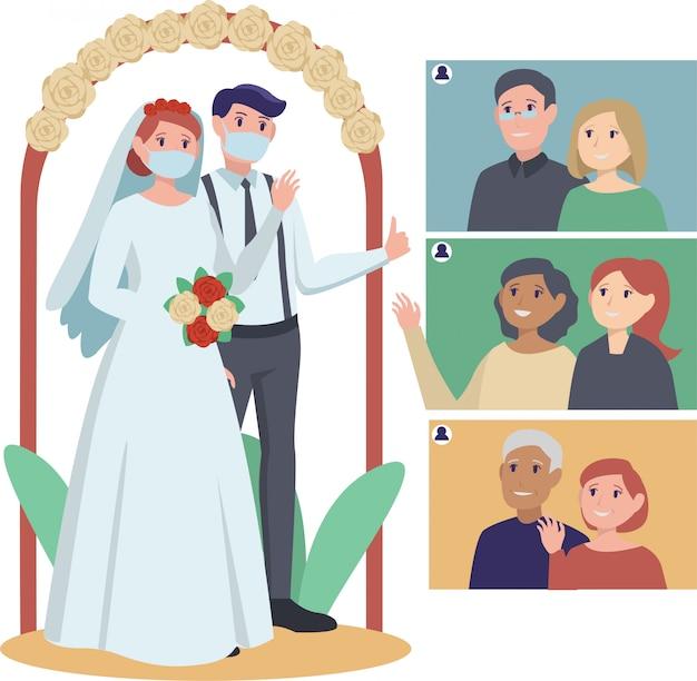 Una coppia di sposi con cerimonia di matrimonio online con i loro parenti
