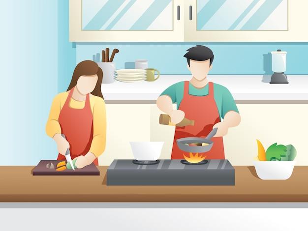 Una coppia sposata cucina insieme