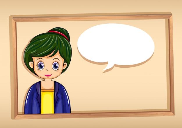 Una cornice con l'immagine di una ragazza con un richiamo vuoto