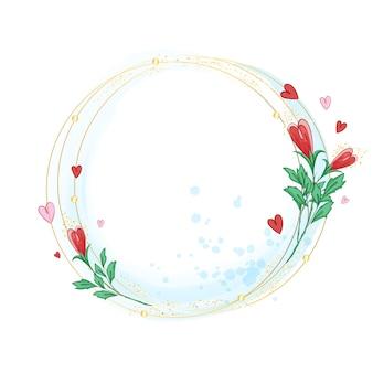 Una cornice di anelli dorati che si intersecano decorati con boccioli di rosa stilizzati,